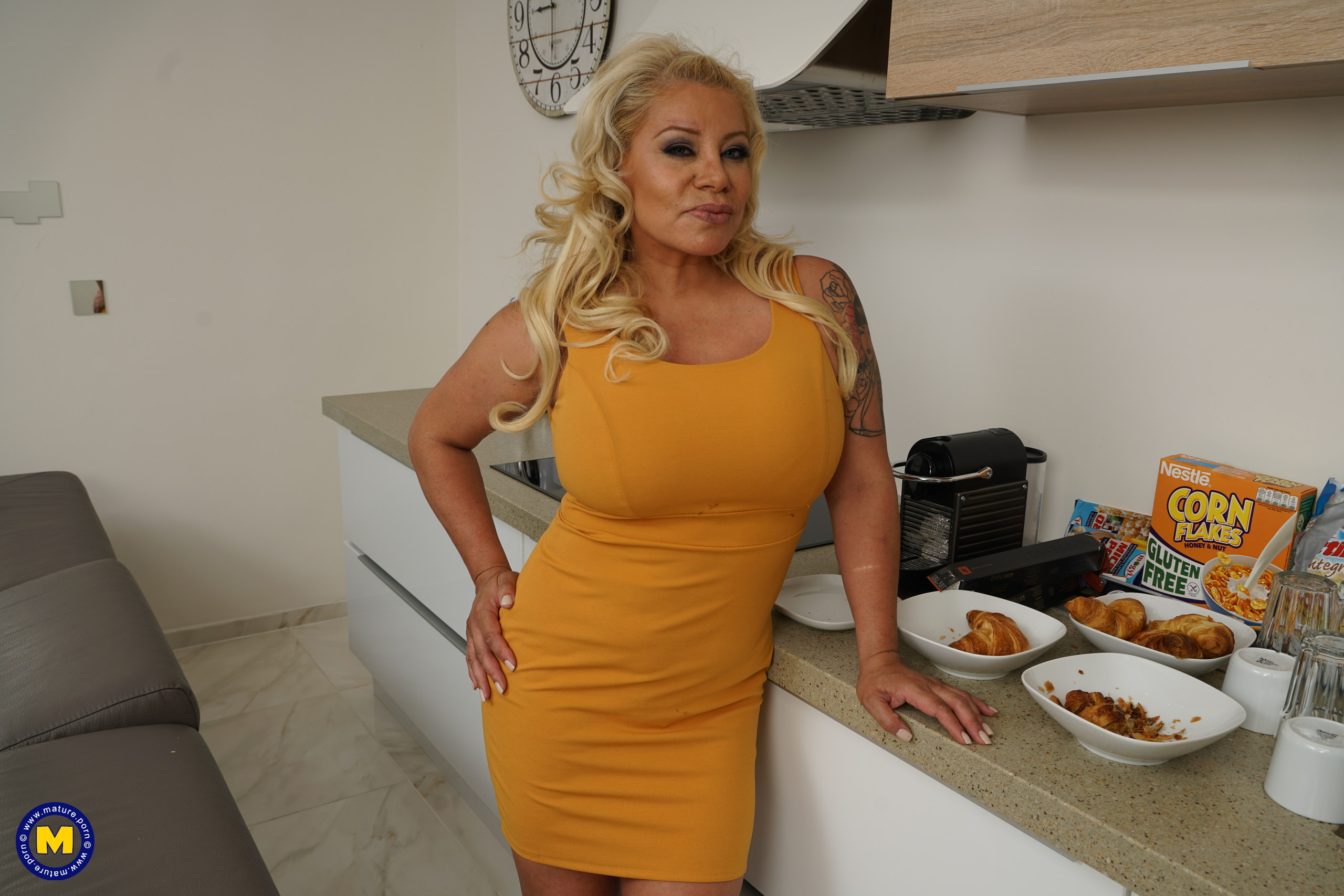 Big breasted housewife goes all the way with her toy boy
