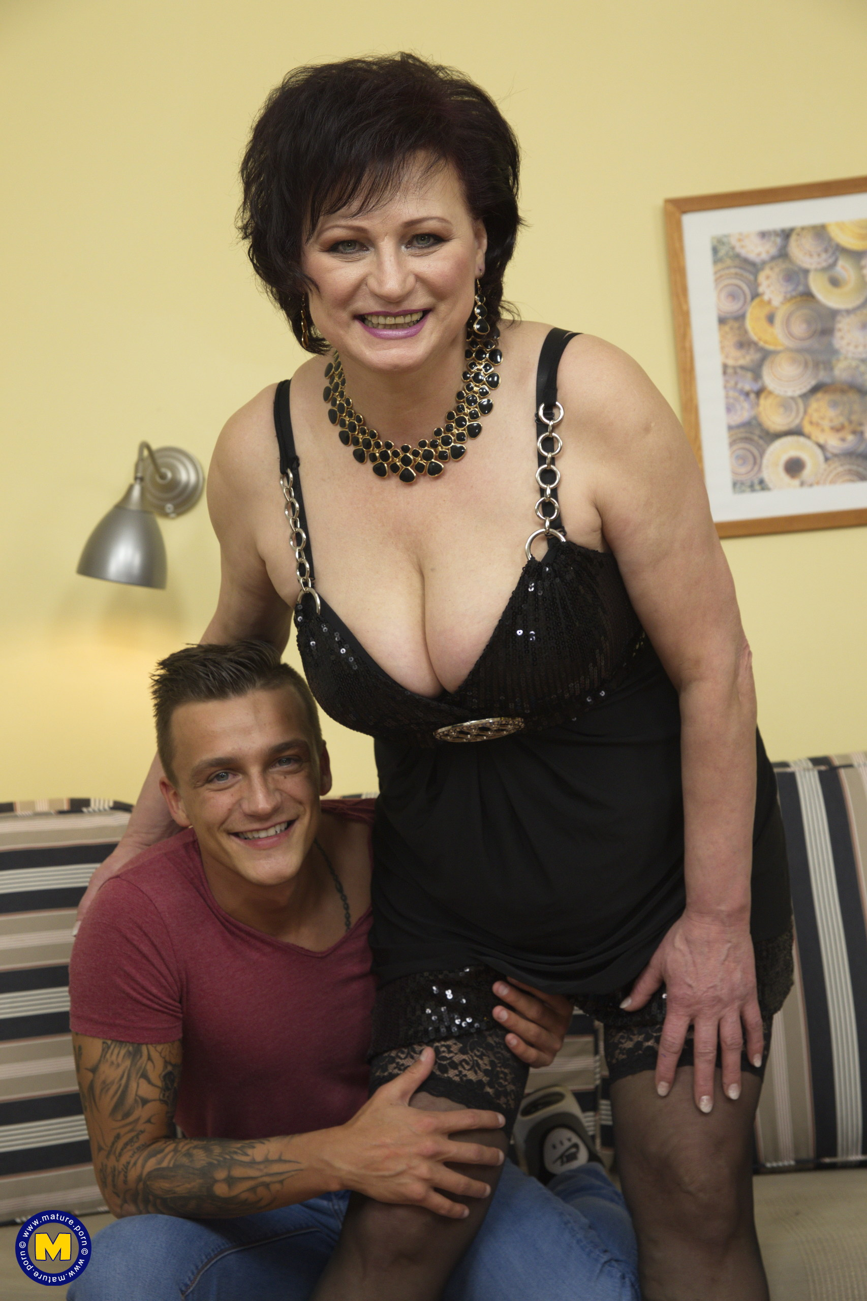 Horny German housewife fooling around with her toy boy